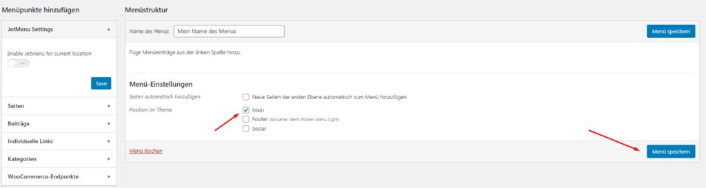 Wordpress Dashboard Menü