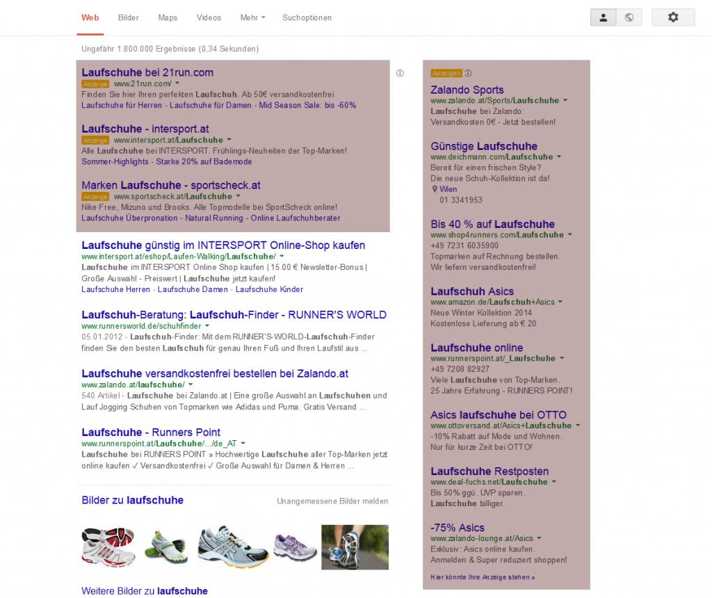 Suchnetzwerk und organische Google-Suche