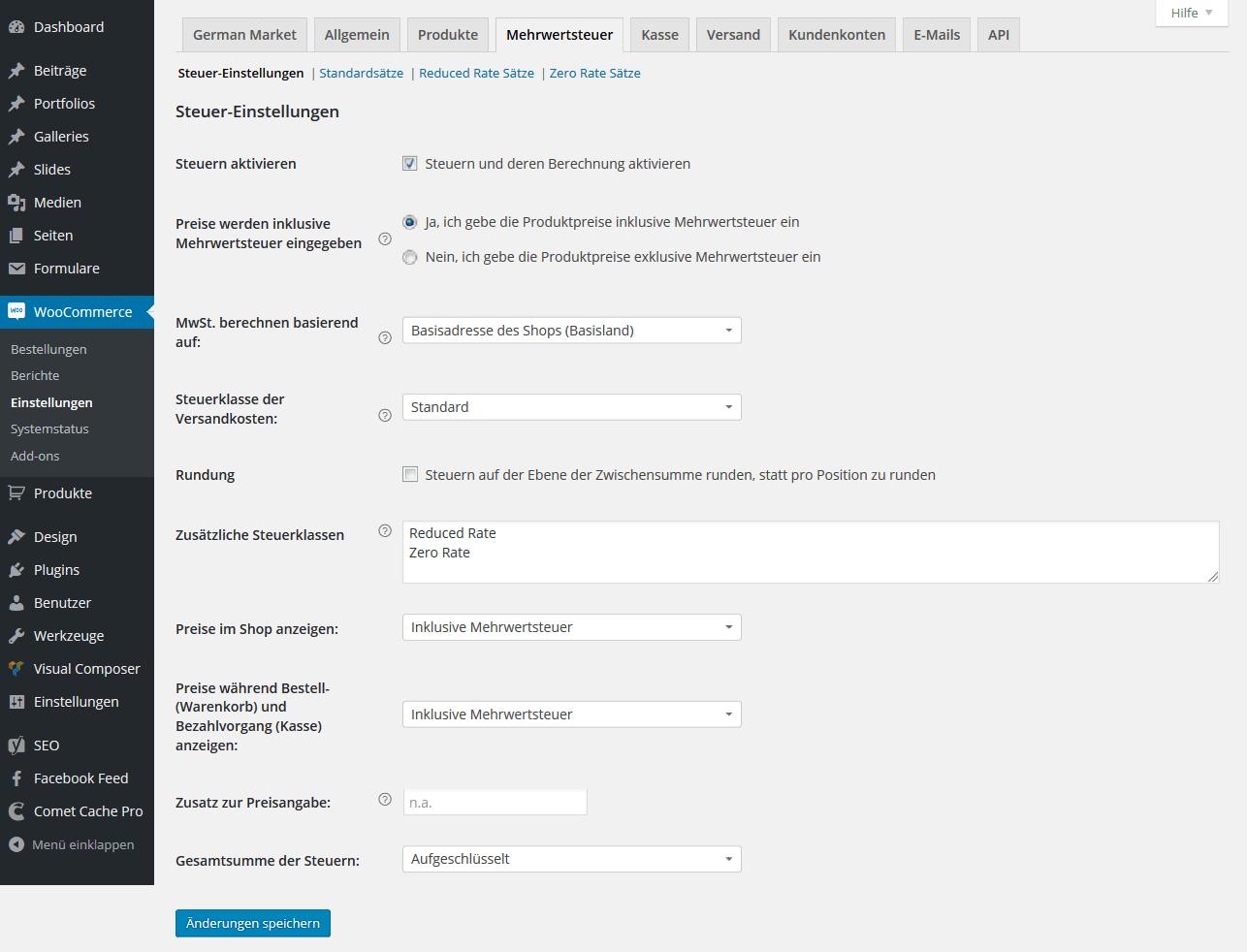 WooCommerce Mehrwertsteuer Einstellungen