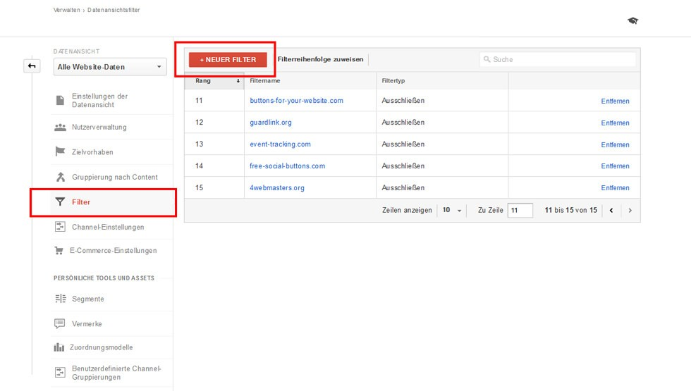 Neuen Filter in Google Analytics anlegen