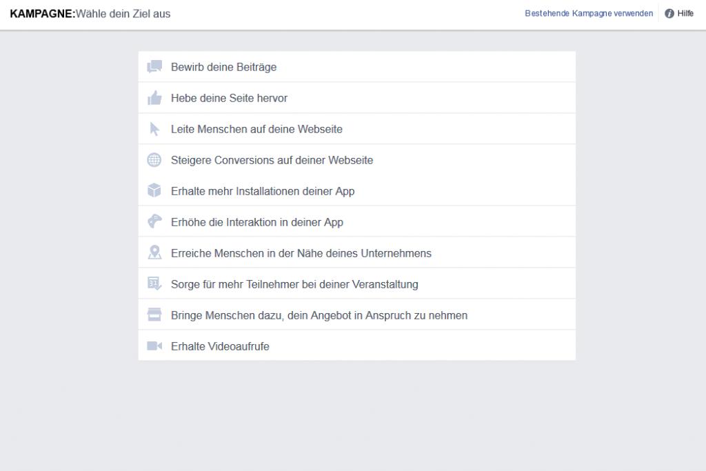 Facebook Werbeziele