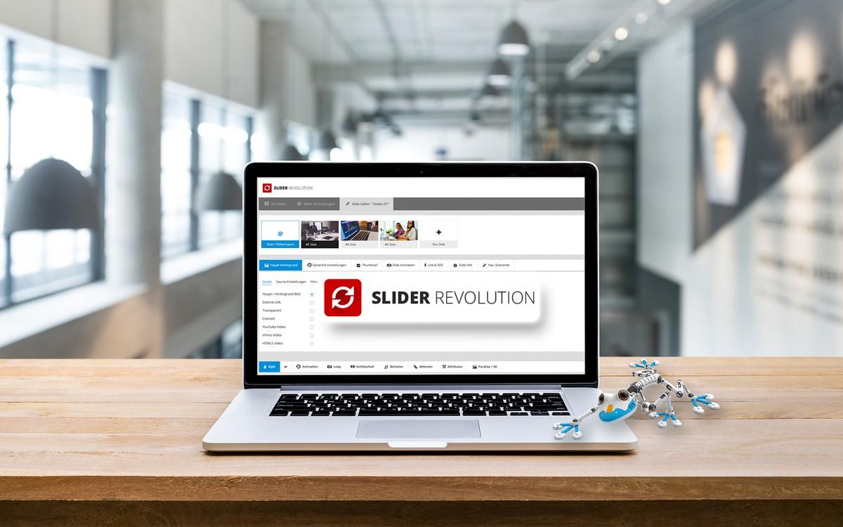 Notebook mit geöffnetem Revolution Slider Editor