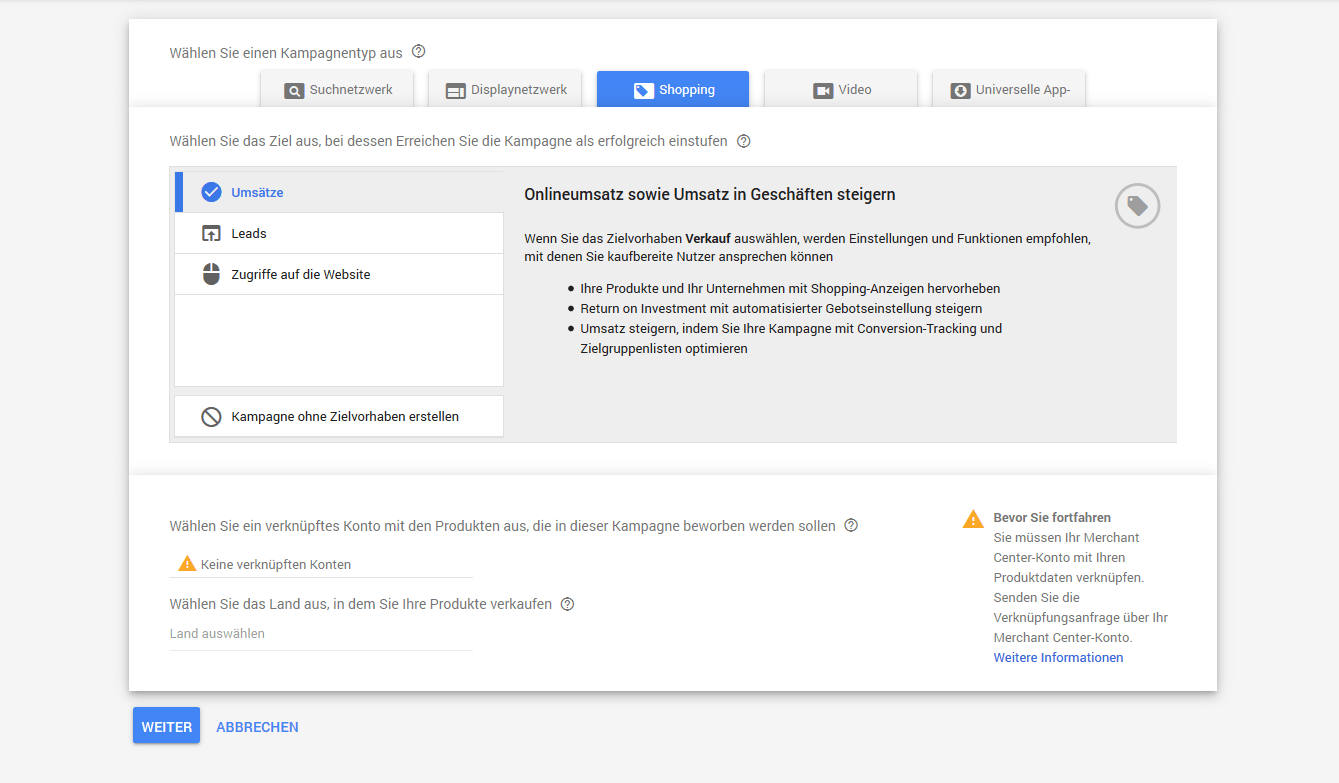 Google Shopping Kampagne in Ads Verwaltung anlegen