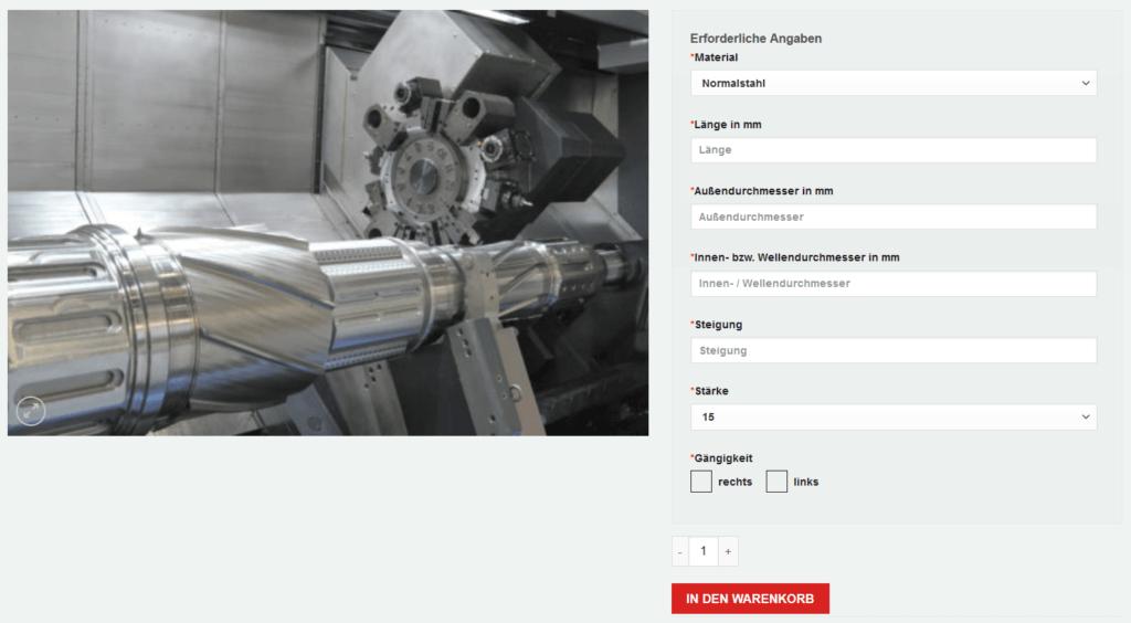 Zusätzliche Produktoptionen auf der Produktdetailseite