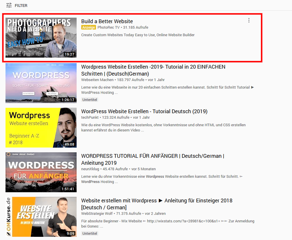Discovery Anzeige in Suchergebnissen