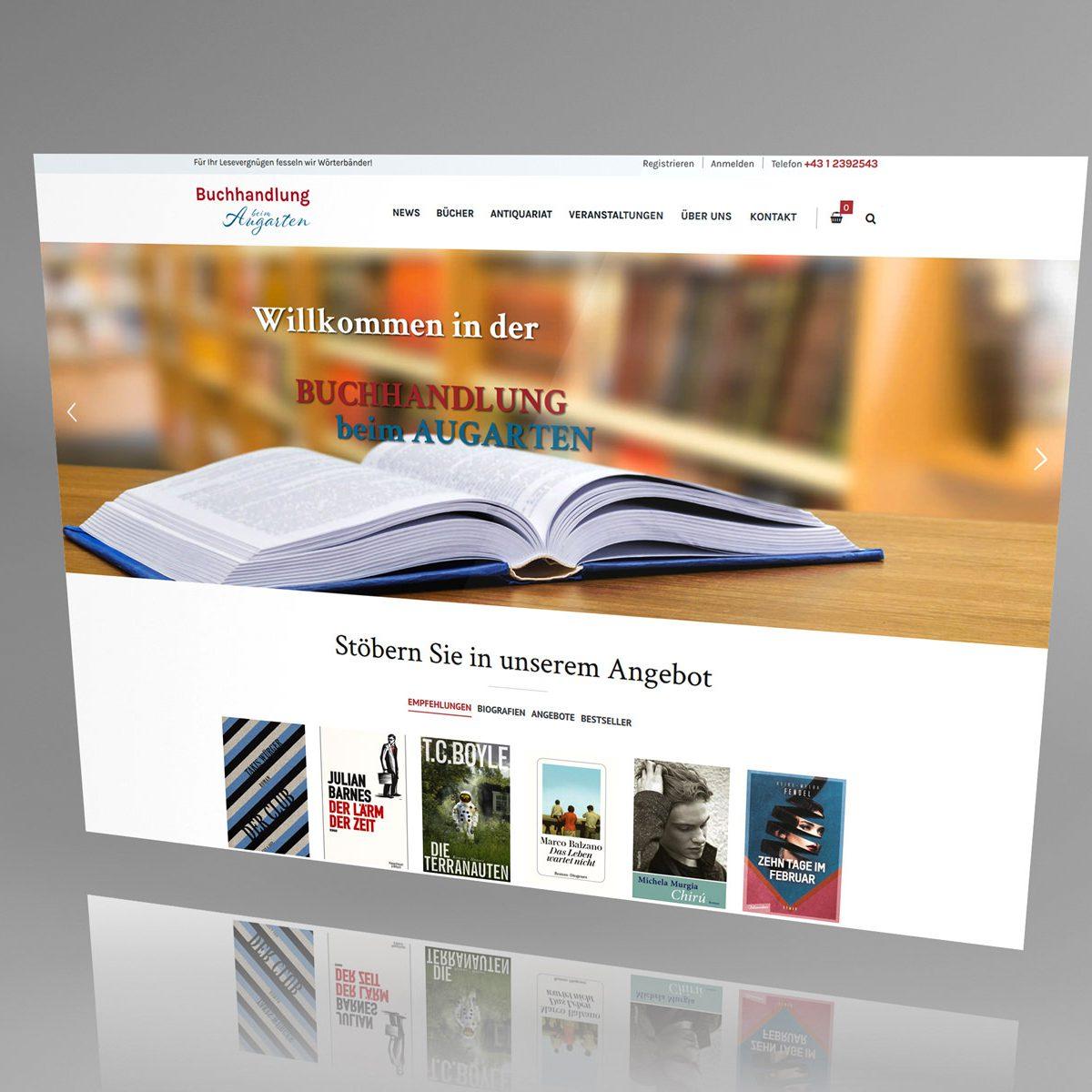 Webdesign Beispielprojekt Buchhandlung beim Augarten
