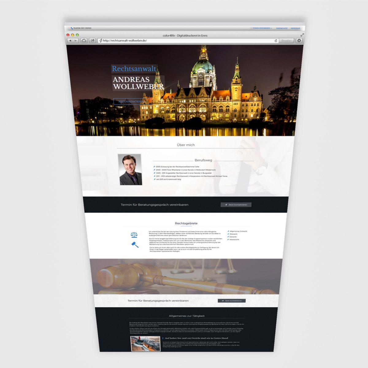 Webdesign Beispielprojekt Rechtsanwalt Andreas Wollweber